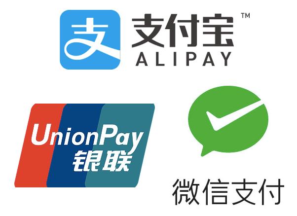 WichatPay,Alipay,UnionPay
