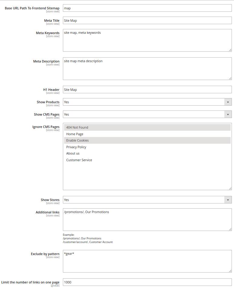 サイトマップ関連の設定画面